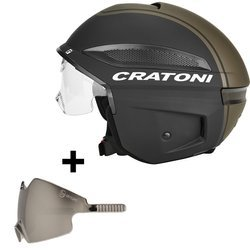Electric bicycle helmet e-bike scooter CRATONI Vigor + 2nd visor SMOKE black / black matt