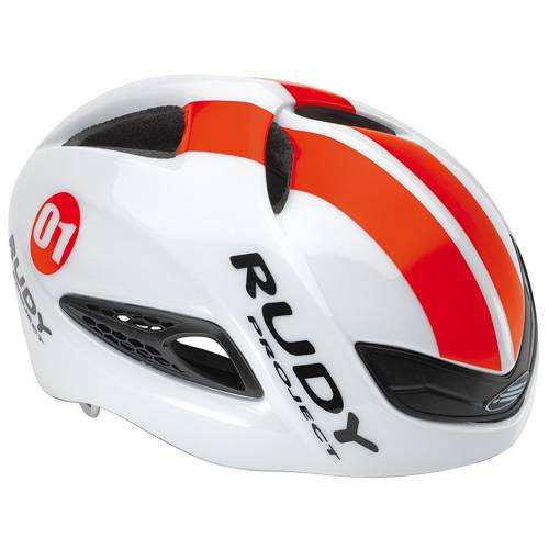 AERO road cycling helmet RUDY PROJECT Boost 01 white / red fluo shiny