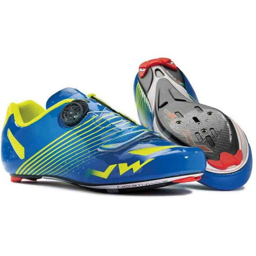 Buty rowerowe szosowe NORTHWAVE Torpedo Plus CARBON blue / fluo yellow