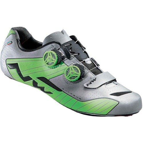 Buty rowerowe szosowe NORTHWAVE Extreme FULL CARBON 2018 reflective silver / green