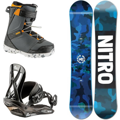 Juniorski zestaw NITRO 2021: snowboard Ripper Youth + Mini Charger S + buty Droid QLS |  THE FIRST STEP TO HAPPINESS : )